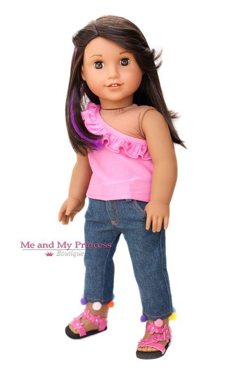 "Purple Jeans fits 18/"" American Girl Doll Denim Pants"