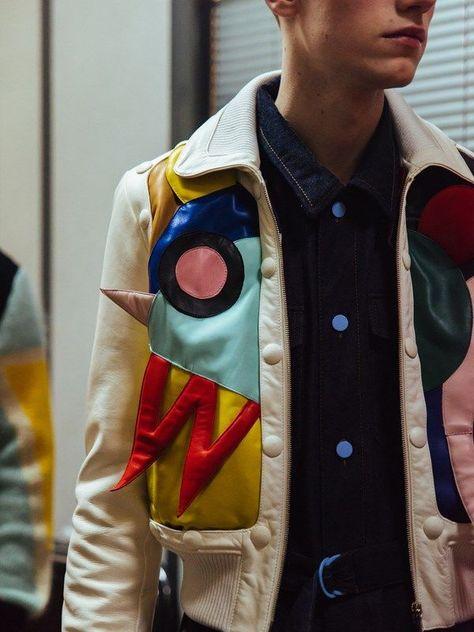 Backstage at Walter Van Beirendonck - three-dimensional shapes on jacket