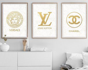 Fashion Wall Art Set Of 3 Prints Chanel Decor Versace Poster Etsy Room Decor Bedroom Rose Gold Fashion Wall Art Aesthetic Room Decor