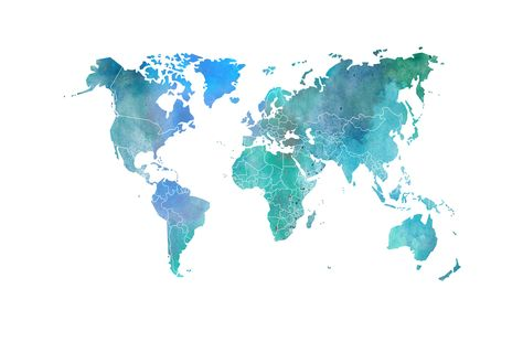 Your Own World Colour Clouds Watercolor Map Map Wallpaper Map