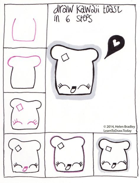 Draw Cute Kawaii Toast Step By Step With Images Easy Drawings