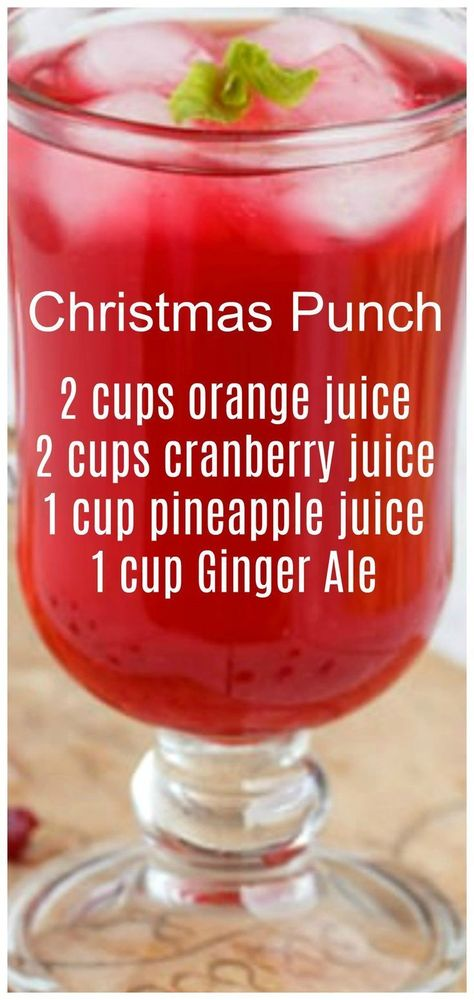 Christmas Punch ~ so simple to make and delicious! We like to serve this punch on Christmas morning. Christmas Punch ~ so simple to make and delicious! We like to serve this punch on Christmas morning. Holiday Drinks, Summer Drinks, Cocktail Drinks, Fun Drinks, Healthy Drinks, Holiday Recipes, Holiday Dinner, Non Alcoholic Christmas Drinks, Christmas Cocktails