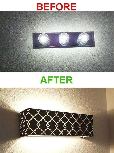 need to replicate this for my bathrooms. -- A shade to cover your old-fashioned vanity lights.I need to replicate this for my bathrooms. -- A shade to cover your old-fashioned vanity lights. Do It Yourself Design, Do It Yourself Furniture, My New Room, Lampshades, Lampshade Ideas, Home Projects, Home Remodeling, Bathroom Renovations, Diy Home Decor