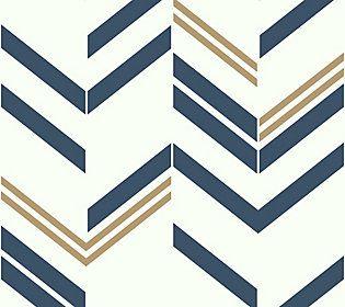Chevron Blue Stripe Wall Decal Qvc Com Paintable Wallpaper Peel And Stick Wallpaper Retro Wallpaper