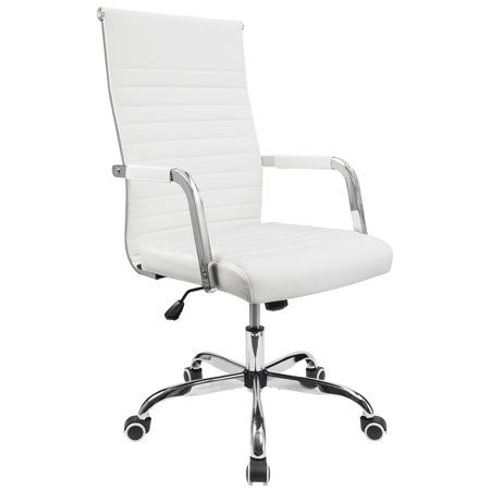 Walnew Mid Back Ribbed Office Chair With Pu Leather White Walmart Com Office Chair Chair Chair Fabric