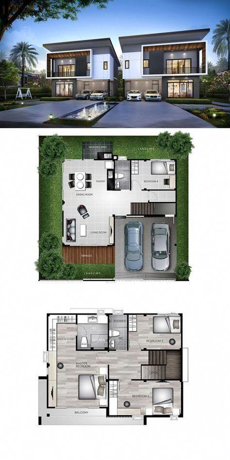Desain Rumah Autocad 3d : desain, rumah, autocad, ArchitectureHome, House, Layouts,, Minimalist, Design,, Duplex, Plans