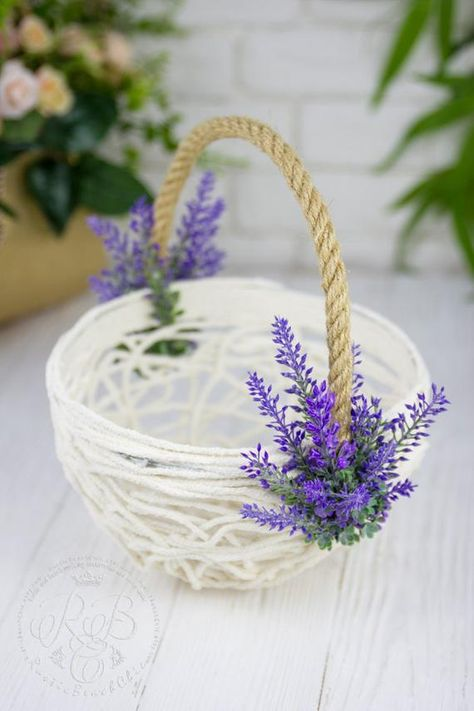 Lavender Flower Girl Basket, Greenery wedding Basket, Floral Girl Basket, Rustic Flower Basket, Provence, Lace Basket, Rustic Flower Basket Original products from RusticBeachChic are the best solution for your big day or as an exclusive gift for a newly-married couple or an anniversary. Also you