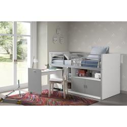 Funktions Hochbett Bonny Weiss Silbergrau Mit Schreibtisch 90x200 Cm Roller In 2020 Bett Mit Schreibtisch Hochbett Mit Schreibtisch Und Hausbett