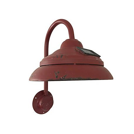 Red Shed Soft Glowing Rustic Solar Powered Lamp Red At