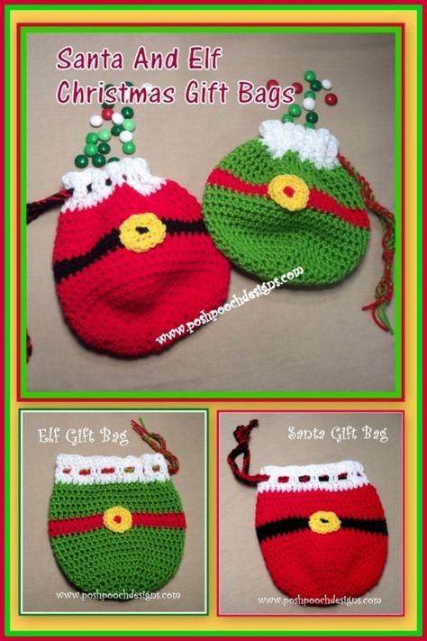 Posh Pooch Designs Dog Clothes: Santa and Elf Christmas Gift Bags Crochet Pattern . bag Santa and Elf Christmas Gift Bags Crochet Pattern Crochet Christmas Decorations, Crochet Christmas Ornaments, Christmas Crochet Patterns, Holiday Crochet, Crochet Snowflakes, Christmas Knitting, Crochet Gifts, Christmas Gift Bags, Christmas Elf