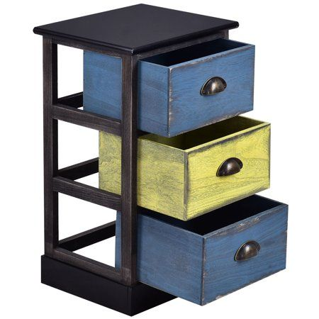 Costway Stylish Wood Bedside Table Nightstand Cabinet Furniture 3