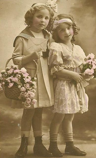 two girls with flwrs by in pastel, via Flickr.   (fiction): Hattie Ruth (left) & Amelia Grace (right) Camden.