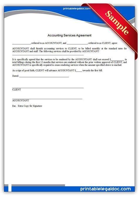 Free Printable Accounting Services Agreement  Sample Printable