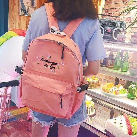 Harajuku Flower Embroidered Waterproof Backpack