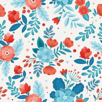 Red Barrel Studio Alyzabeth Removable Peel And Stick Wallpaper Panel Blue Flower Wallpaper Spring Wallpaper Flower Wallpaper