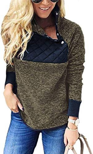 Famulily Womens Long Sleeve Asymmetrical Snap Neck Fleece Pullover Tops Sweater