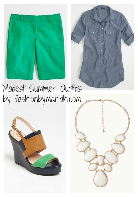 Chambray shirt. bermuda shorts, statement necklace, cute sandals :)