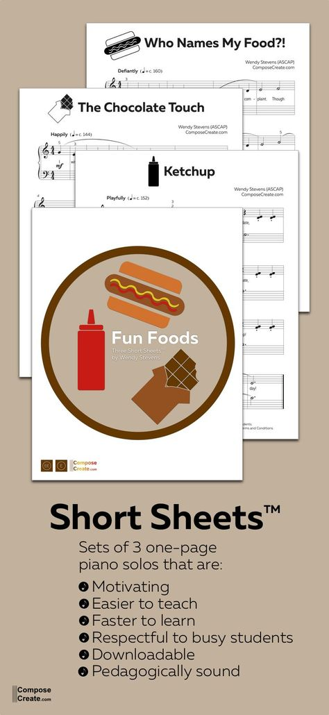 Fun foods is a set of 3 silly piano solos that are packed with pedagogy punch! Piano students are motivated, learn quickly, the pieces are easier to teach, and they learn more music.  #piano #easy #lesson #teaching #teach #pedagogy #piece #pieces #short #shorter #solo #solos #teacher #repertoire #fun #kid #child