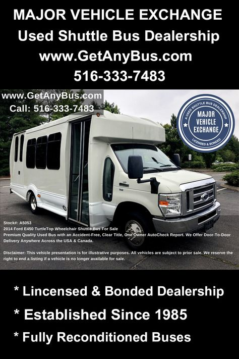 Recreational Buses For Sale 2014 Ford E450 Turtletop Wheelchair
