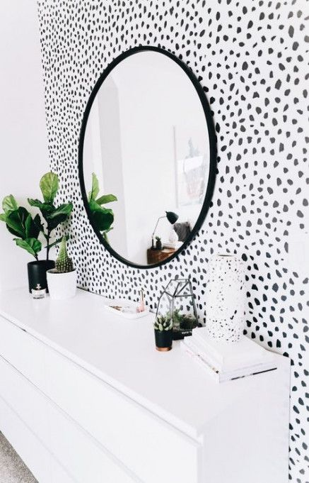 28 Trendy Ideas Bedroom Wallpaper Black And White Polka Dots Accent Wall Bedroom Wallpaper Bedroom Home Decor