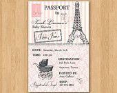 Passport to Paris Baby Shower Invitation - Custom Printable