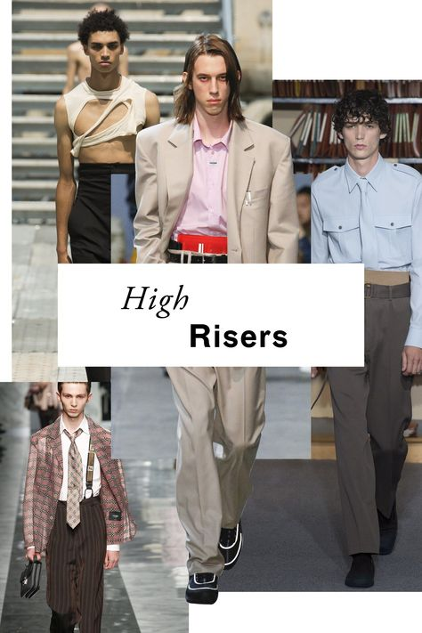 Time to buy a smaller belt. Men's pant rises are just getting higher, following the lead of women's nipped-in, teeny-tiny waistlines. At Haider Ackermann, the look was accentuated with two belts and a provocative styling trick: visible boxers.