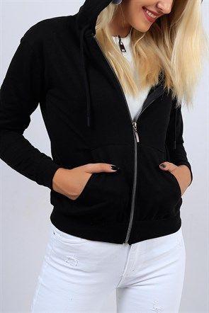 Fermuarli Kapsonlu Siyah Bayan Sweat 9282b Kapsonlular Kadin Giyim Bomber Ceket