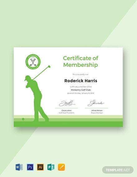 Free Golf Club Membership Certificate Template Word Doc Regarding Golf Cert Certificate Templates Certificate Template Certificate Of Participation Template