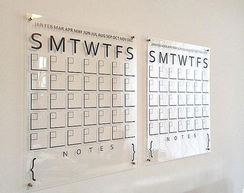 Acrylic Calendar Wall Calendar Dry Erase Calendar Large Wall Calendar Home Office Office Decor Professional Dry Erase Calendar