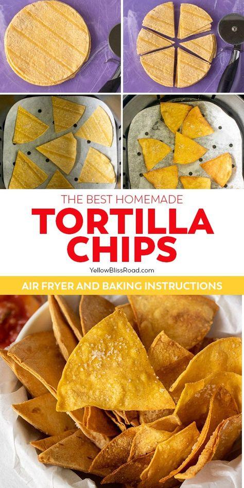Air Fryer Oven Recipes, Air Frier Recipes, Air Fryer Dinner Recipes, Homemade Tortilla Chips, Homemade Chips, Healthy Tortilla Chips, Air Fried Food, Air Fryer Healthy, Mexican Food Recipes