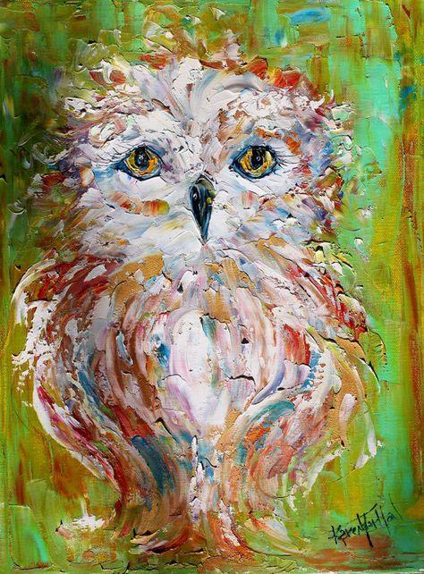 Original oil painting Owl Whimsy bird palette knife impasto on canvas…