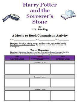 Harry Potter And The Sorcerer Stone Movie V Book Activity Unit Study Lesson Classroom Literary Analysi Essay