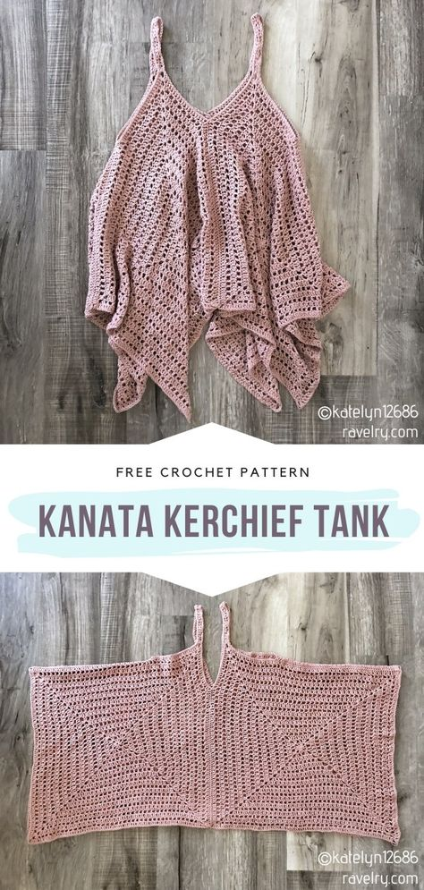 Kanata Kerchief Tank Free Crochet Pattern Can you believe that this stunning summer top is actually quite easy to make? It would make a lovely outfit for a romantic walk in the park and for a day at the beach. Crochet Simple, Simply Crochet, Pull Crochet, Knit Crochet, Crotchet, Crochet Pullover Pattern, Crochet Case, Crochet Skull, Crochet Summer Tops