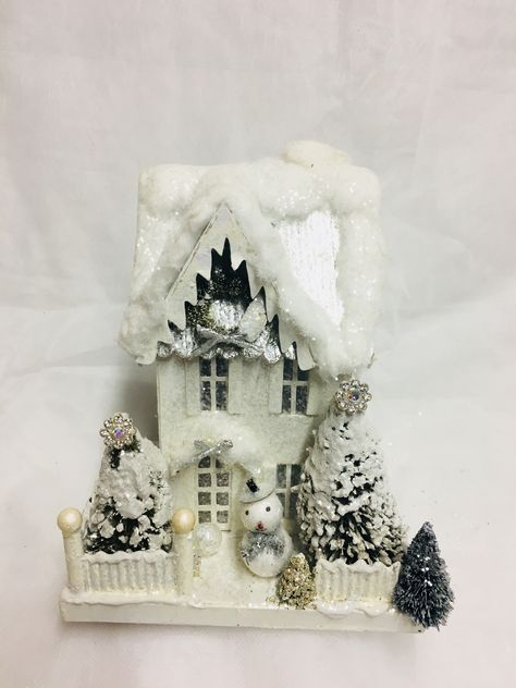 our version of bethany lowes tall while and silver christmas village house - Lowes Christmas Village