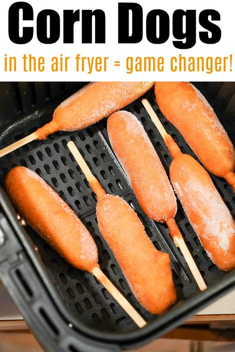 Air fryer corn dogs are the bomb! They cook way faster this way to get that nice crunchy texture on the outside with a tender hot dog in the center.