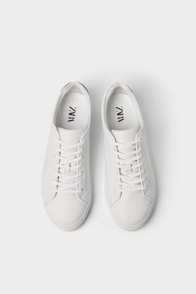 Zara Male White Leather Sneakers White 7 White Leather Sneakers Sneakers White Leather