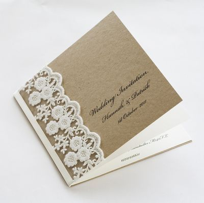 Rustic Lace Wedding Invitation Cards This Would Be So Easy To Make Ourselves Wedding Card Diy Wedding Invitations Diy Wedding Invitation Cards