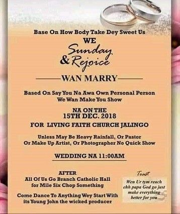 This Viral Wedding Invitation Card Written In Pidgin English Will Leave You In Stitches A Niger Wedding Invitation Cards Invitation Cards Wedding Invitations
