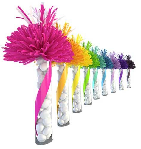 centerpieces with crayons wrapped