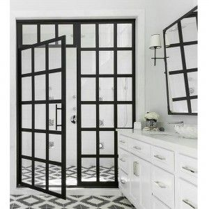 We Love The Number Of Intricate Panes That Make Up This Crittall Style Shower Door Bathroom Interiors In 2020 Coastal Shower Doors Shower Door Designs Shower Doors