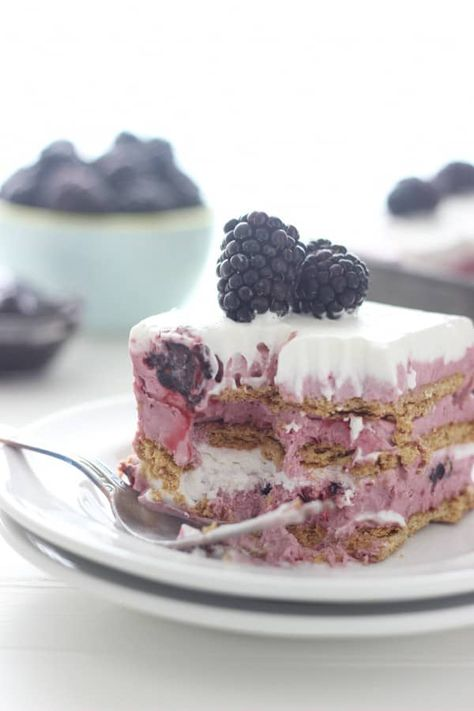 This EASY No-Bake Blackberry Icebox Cake is a fresh no-churn blackberry ice cream layered with graham cracker and whipped cream for the perfect summer treat. It takes only 15 minutes to prepare for freezing and can be served a few hours later. #blackberryicecream #iceboxcake #nochurnicecream