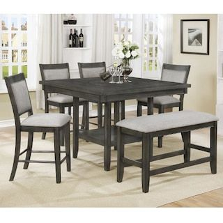 Claremont Fulton 6 Piece Dining Set In Gray Dining Room Sets Counter Height Dining Table Set Counter Height Dining Sets