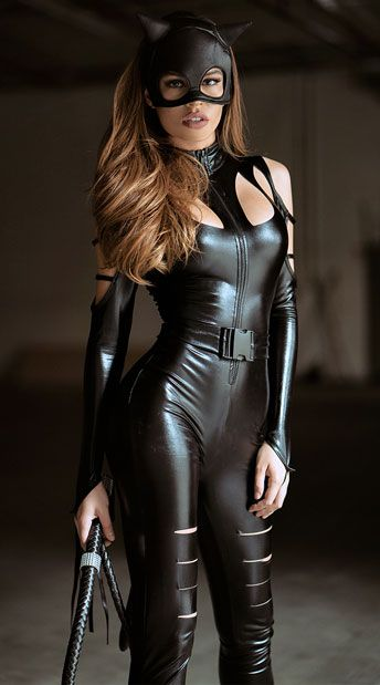 HALTER ZIP FRONT ROMPER /& ATTACHED TAIL CAT EARS /& MASK OUTFIT 4 PIECE CATSUIT