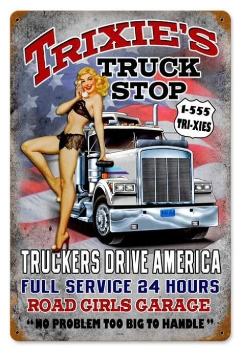 Vintage Trixies Truck Stop  - Pin-Up Girl Metal Sign, $39.97  #retro #vintage #homedecor #jackandfriends #tinsign #metalsign #gameroom #walldecor #nostalgia