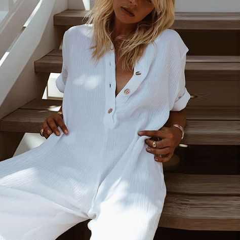 Button Down Collar Single Breasted Plain Short Sleeve Jumpsuits – mobclothe.com
