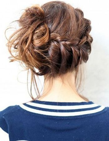 Braided messy updo