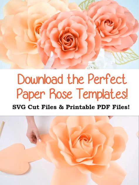 Learn how to make easy and beautiful giant paper roses for wedding, shower, and party decor.  Download your paper rose SVG cut files to use with a Cricut or Silhouette or use the printable PDF rose pattern with scissors. Full length step by step video tutorial included to help you create the perfect rose!