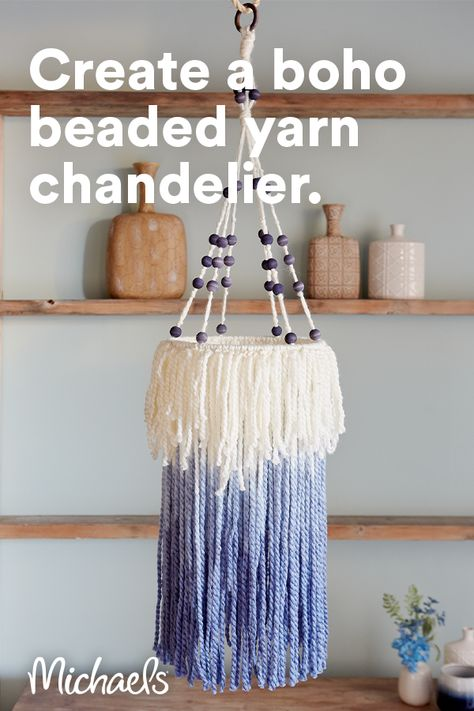 This yarn chandelier is the perfect complement to your Boho décor and accents the indigo trend. Dying yarn and wood is a fun way to elevate a hand-crafted simple piece of yarn art!