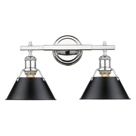 Golden Lighting 3306 Ba2 Ch Blk Chrome With Black Shades Orwell 2 Light 18 1 4 Bathroom Vanity Light In Chrome With Colorful Shades Bath Vanity Lighting Vanity Lighting Golden Lighting