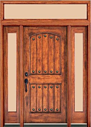 Rustic Arch 2 Panel Plank Transom, Sidelights, Mahogany Entry ...